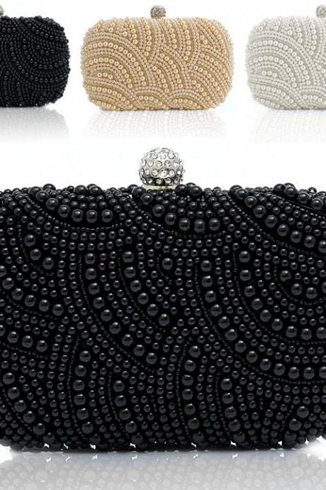 Fashion Lady Women Clutch Bag Pearl Beaded Party Bridal Handbag Wedding Evening Purse