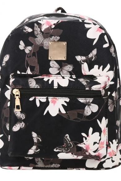Floral Print Leather Backpack