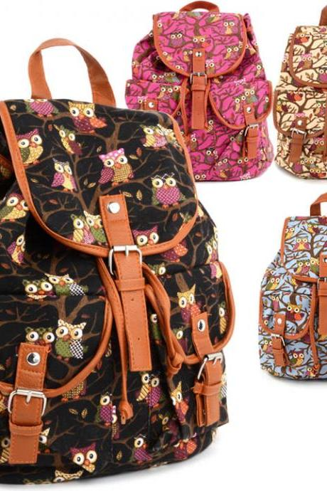 Women Cute Cartoon Owls Pattern Canvas Backpack Shoulder Bag Students Schoolbag Book Bag