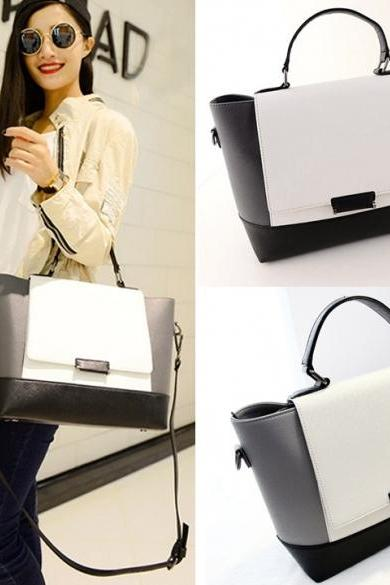 New Fashion Women Synthetic Leather Handbag Contrast Color Shoulder Bag