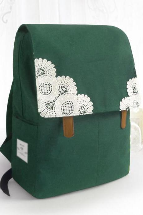 Canvas Backpack with Lace Adorned Fold Over Cover