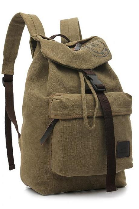 Folder Cover Solid Color Canvas Backpack Leisure Bag