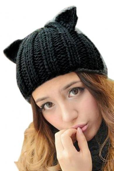 New Korean Women's Winter Warm Hat Devil Horn Knitted Hats Cat Ears Knitting Caps Female Hat Accessories