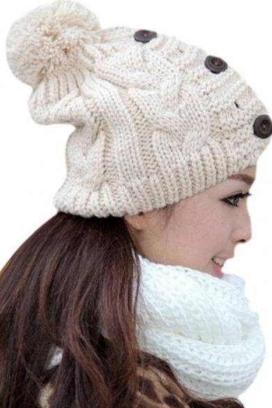 New Fashion Winter Cap Warm Woolen Blend Knitted Stylish Cap Hat