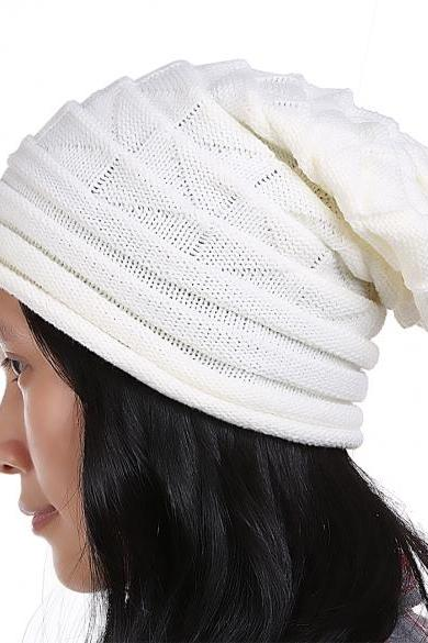 European Style Autumn Winter Fashion Unisex Knit Crochet Solid Warm Baggy Beanie Hat Oversized Slouch Cap