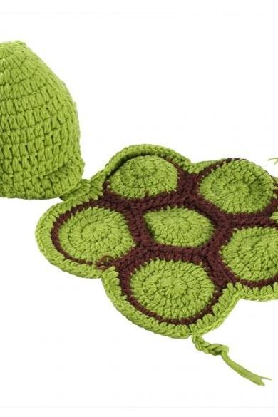 Newborn Baby tortoise hat Infant Knit Sweater Crochet photography prop hat Outfit