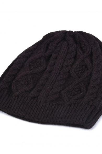 New Winter Warm Wool Beanie Cap Women Baggy Crochet Knit Skull Ski Hat