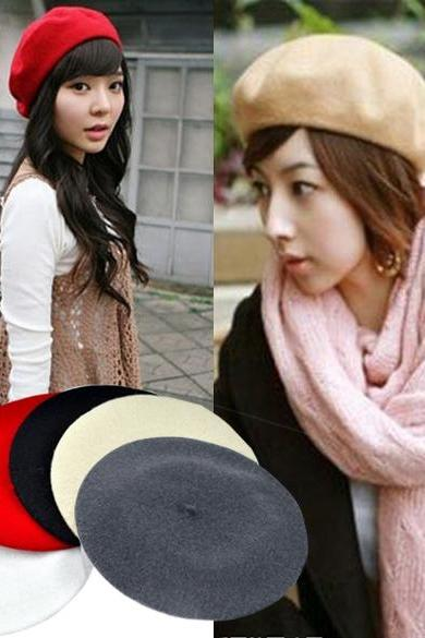 5 Colors New Fashion Wool Warm Women Beret Beanie Hat Cap Hot