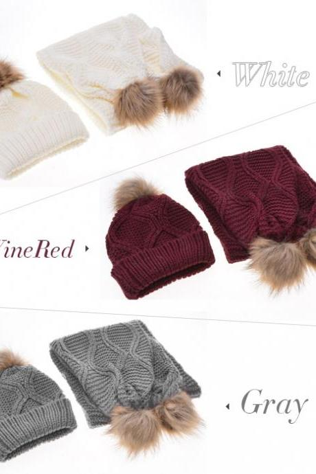 Stylish New Women's Knit Winter Warm Ski Slouch Hat Cap + Scarf Set