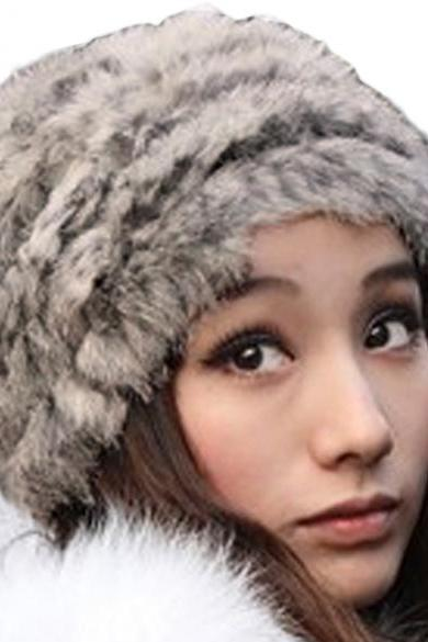 New Fashion Winter Warm Fluffy Fur Hat Head Knitted Beanie Ski Hat