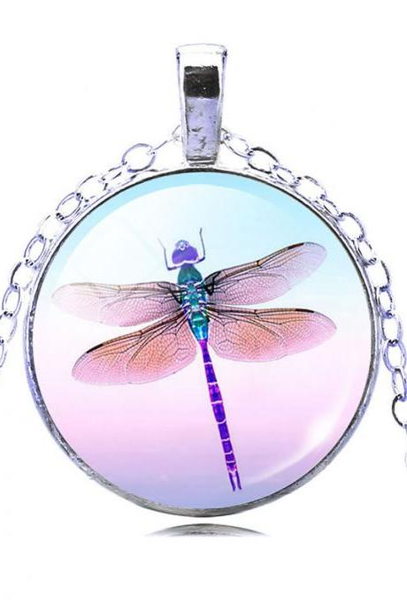 Dragonfly Time Cameo Glass Sweater Pendant Necklace