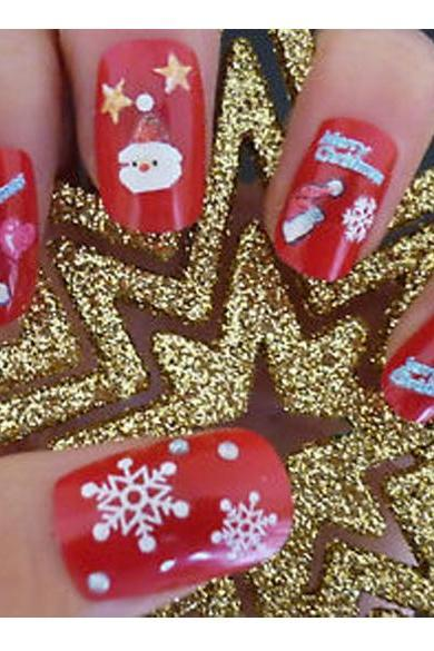 Christmas Snowflakes Design 3D Nail Art Stickers Decals 6 Sheet