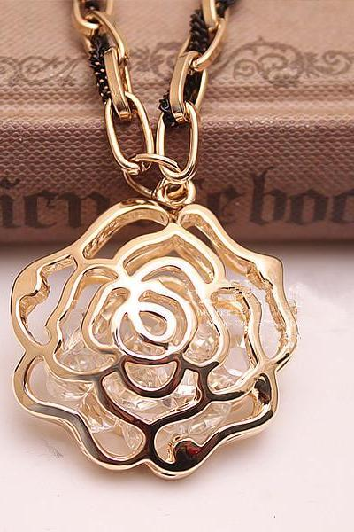 Hollow Out Golden Rose Long Sweater Necklace