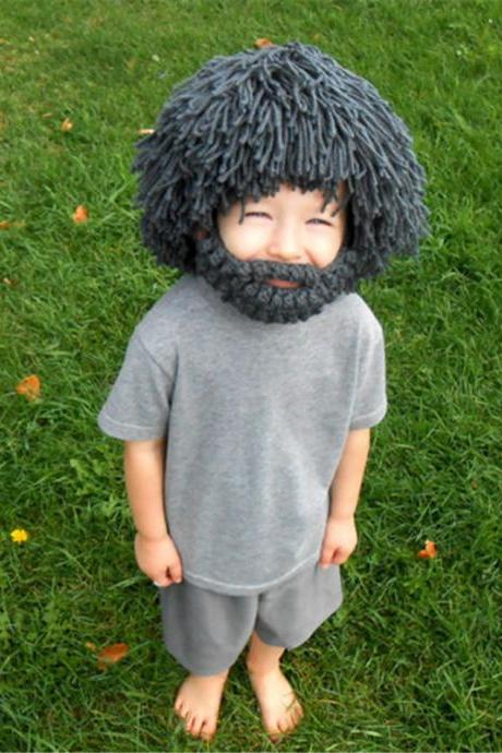 Creative Funny Hand Knitted Woolen Wig Beard Hat