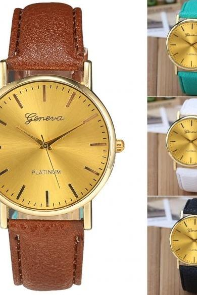 Fashion Women Gold Case Wristwatch Synthetic Leather Band Quartz Analog Casual Wrist Watch