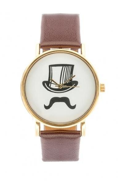 Mustache Hat Print Watch With Leather Band