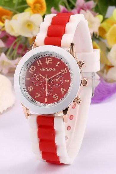 Fashion Women Silicone Strap Contrast Color Quartz Wrist Watch