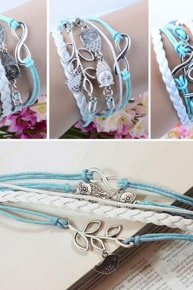 Branch/Leaf Owl Bird Wax Cord Synthetic Leather Braid Wrap Bracelet Bangle CaF8
