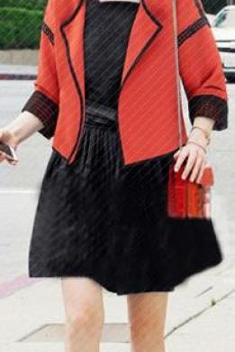 Lapel Patchwork Fashion 3/4 Sleeves Short Coat