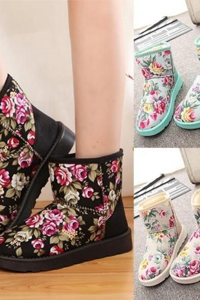 Fashion Women Winter Warm Floral Ankle Snow Boot Flat Heel Fleece Lined