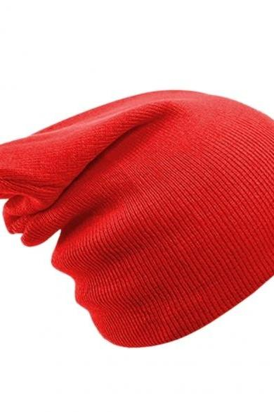 Unisex Men Women Casual Solid Stretchy Knitted Plain Beanie Hat Winter Fashion
