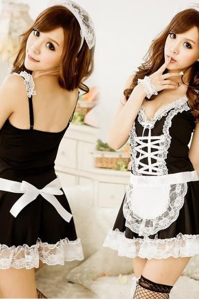 Women's Maid Servant Lace Costume Female Sexy Dress Sexy Lingerie