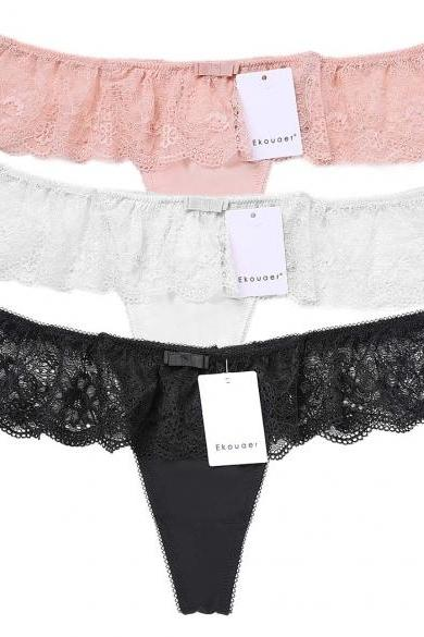 3PCS Women's Ladies Sexy Sheer Full Lace Sexy Panties Briefs Knickers Underwear Thong G-String