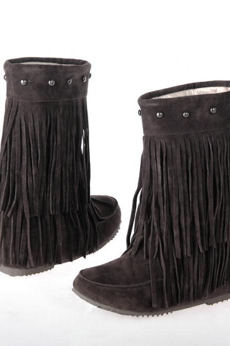 Women Suede Double Tiered Fringe Boots with Beaded Studs