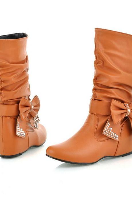 Sweet Bowknot Diamond Increased Leisure Wedge Boots