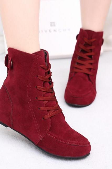 Fashion Winter Suede Increased Flat Martin Boots