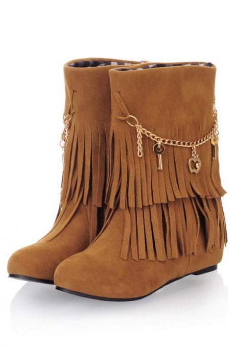 Women Suede Double Tiered Fringe Boots Adorned with Metallic Charms