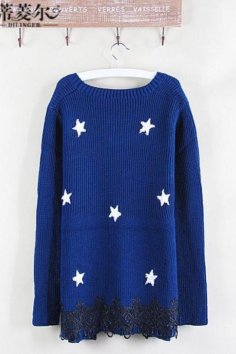 Dropped Shoulder Stars Korean Knit Long Sweater