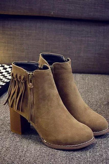 Fashion Round Head Chunky Heel Zipper Tassels Martin Boots