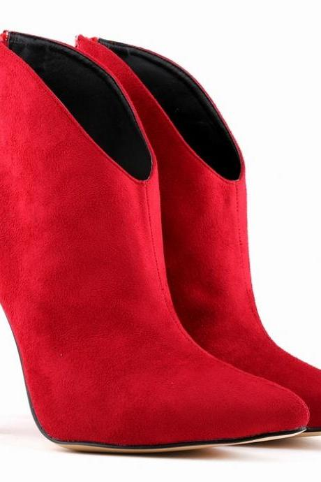Suede Pointed Head High Heel Zippered Ankle Boots