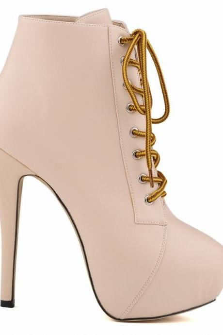 Round Head High Heels Nightclub Lace Up Boots