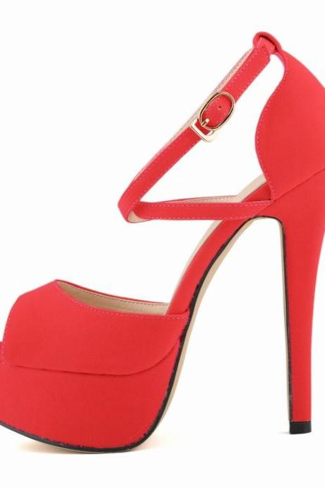 Fashion Peep Toe Cross Strap High Heeled Sandals