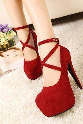 Hot Style Cross Buckle Ultra-High Fashion Heel Shoes