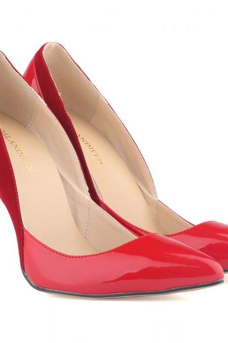 Colour Block Patent Leather Pointed-Toe High Heel Stilettos