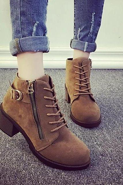 Lace Up Side Zipper Buckle Moto Boots