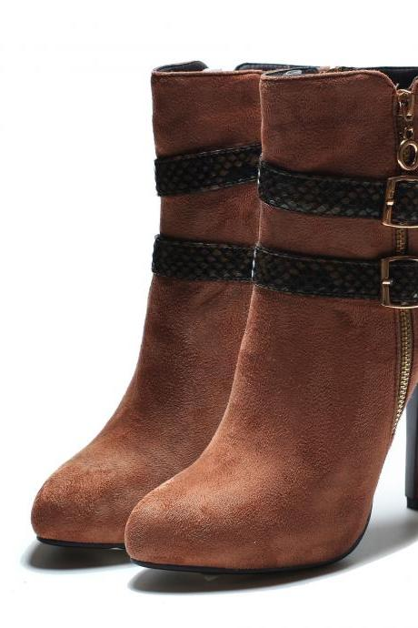 Classic Belt Buckle Round Head Short Boots