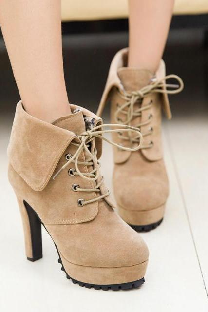 Fashion High-Heeled Foldable Martin Boots