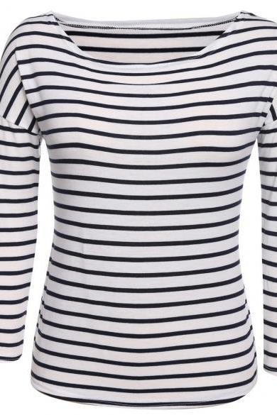 Women Fashion Casual Long Sleeve Classic Stripe T-Shirt Tops