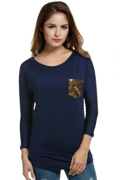 Women's Batwing Long Sleeve Sequined Pocket Long Blouse Tops