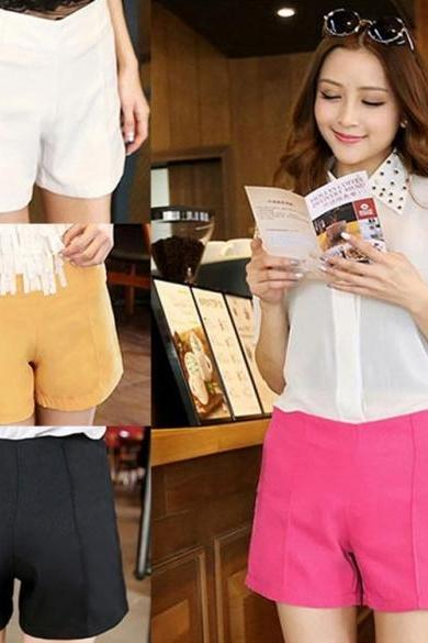 New Fashion Girls Women High Waist Solid Casual Shorts