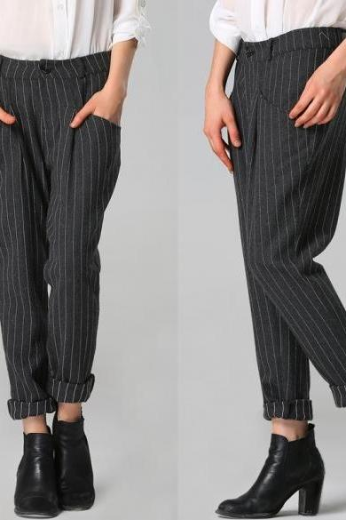 Stylish Lady Women Striped Full Length Pants Slim Casual OL Trousers Gray
