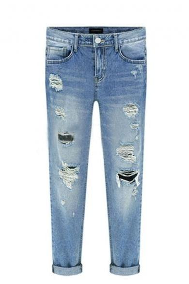 New Fashion Women Casual Slim Pencil Pants Skinny Ripped Jeans Denim Trousers