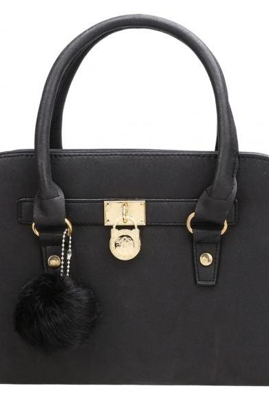 Faux Leather Top Handle Handbag with Pad Lock Décor