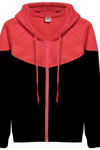 Women Long Sleeve Hooded Casual Leisure Sports Patchwork Hoodies Zipper Fleece Sweatershirt Coat Outerwear