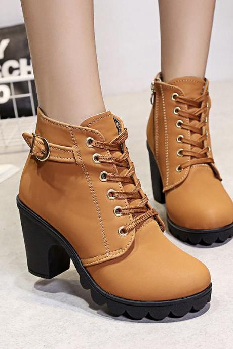 Fall Lace Up Belt Buckle Chunky Heel Martin Boots