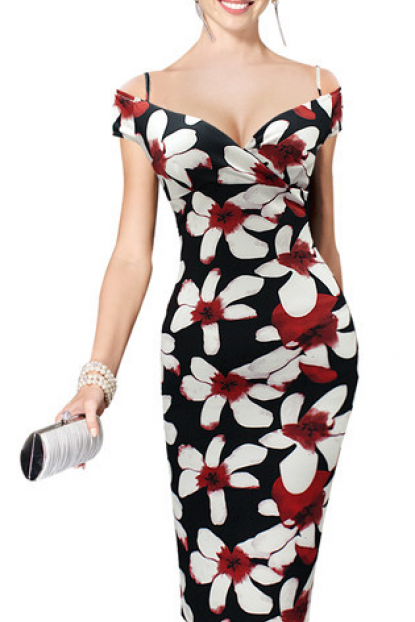 Floral Print Off-The-Shoulder Plunge V Knee Length Bodycon Dress